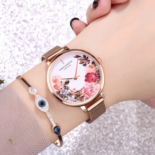 Stainless Steel Flower Ladies Wrist Watch Luxury Women Bracelet Watch - Irene Cheung