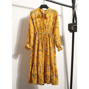 Women Casual Autumn Dress Korean Style Vintage Floral Printed Chiffon - Nova Dream Shop