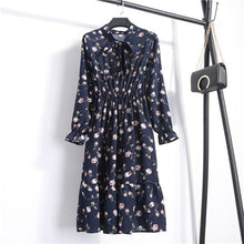 Load image into Gallery viewer, Women Casual Autumn Dress Korean Style Vintage Floral Printed Chiffon - Irene Cheung