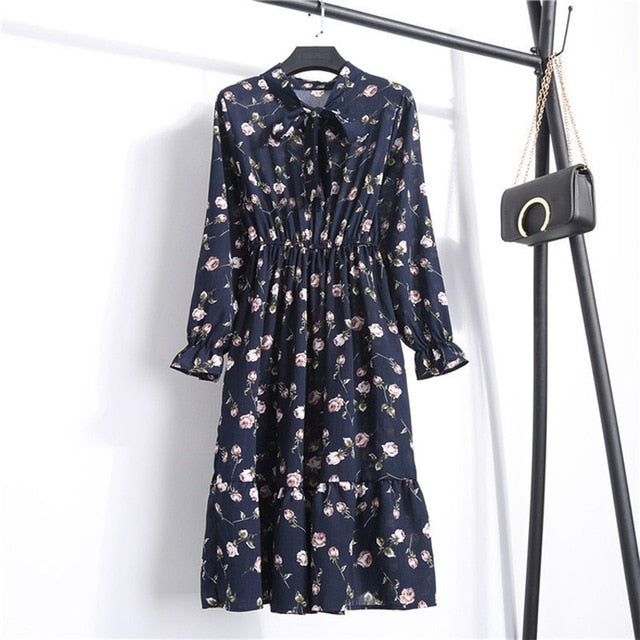 Women Casual Autumn Dress Korean Style Vintage Floral Printed Chiffon - Irene Cheung