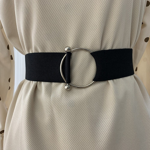 Black Simple Waist Elastic Ladies Band Round Buckle Belt - Nova Dream Shop