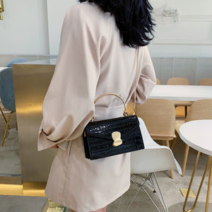Stone pattern PU Leather Crossbody Bags Mini Shoulder Messenger Bag With Metal Handle - Nova Dream Shop