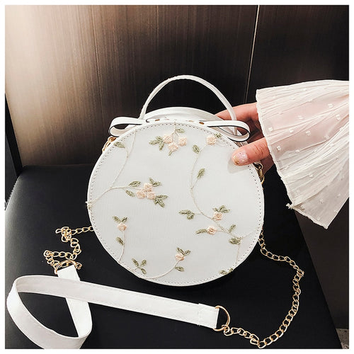 Sweet Lace Round Handbags Cross body Bags Small Fresh Flower Chain Shoulder bag - Nova Dream Shop