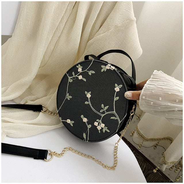 Sweet Lace Round Handbags Cross body Bags Small Fresh Flower Chain Shoulder bag - Irene Cheung