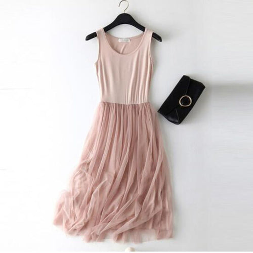 Sleeveless Strap Dress Elastic Lace Dress - Nova Dream Shop