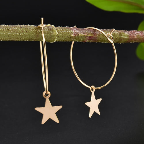 Bohemia Simple Large Circle Star Drop Earring - Nova Dream Shop