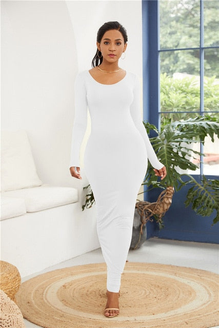New Long Sleeve O Neck Solid Slim Long Casual Hip Maxi Dress - Nova Dream Shop