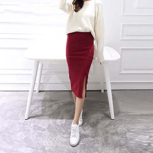 Stretchable Split Mid Calf Slim Pencil Skirts - Irene Cheung
