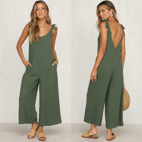 Casual Loose Linen Cotton Jumpsuit trouser legging - Nova Dream Shop