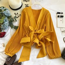 Load image into Gallery viewer, Ruched Pleated Ruffles Blusa Sashes Vintage Blouse Top - Nova Dream Shop