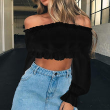 Load image into Gallery viewer, Sexy Slash neck Long Sleeve Ruffles Off Shoulder top - Nova Dream Shop