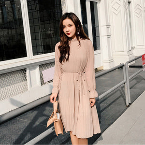 Flowers Women Cute Dress Korean Casual Long Sleeve Mid-Calf Party Dress - Nova Dream Shop