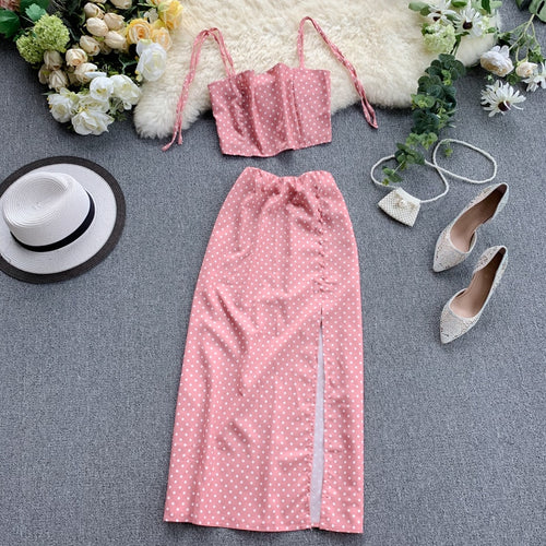 2 Piece Sets Summer Spaghetti Strap Ctop Tops + Slim Dot Printed Skirt - Nova Dream Shop