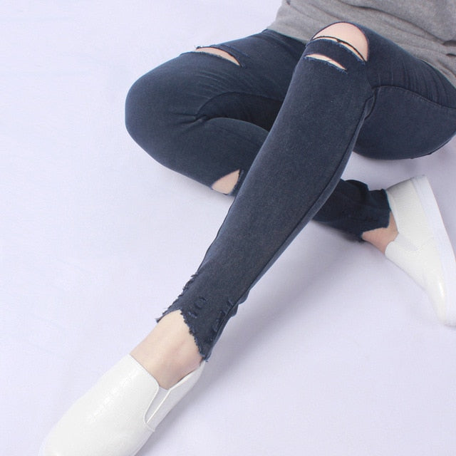 Hole Ripped Jeans Leggings Cool Denim Skinny Pencil Trousers - Irene Cheung