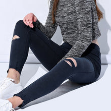 Load image into Gallery viewer, Hole Ripped Jeans Leggings Cool Denim Skinny Pencil Trousers - Irene Cheung