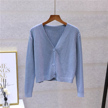 Load image into Gallery viewer, V-Neck Knitted Button Sweater Coat Long Sleeve Tops - Irene Cheung