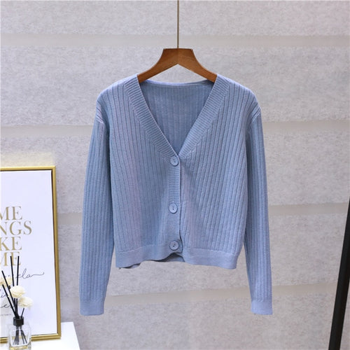 V-Neck Knitted Button Sweater Coat Long Sleeve Tops - Nova Dream Shop