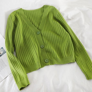 V-Neck Knitted Button Sweater Coat Long Sleeve Tops - Irene Cheung
