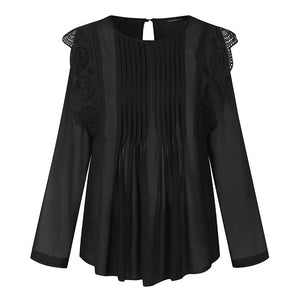 Ruffles Transparent Elegant Blouses Embroidered Lace Top - Nova Dream Shop