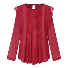 Load image into Gallery viewer, Ruffles Transparent Elegant Blouses Embroidered Lace Top - Nova Dream Shop