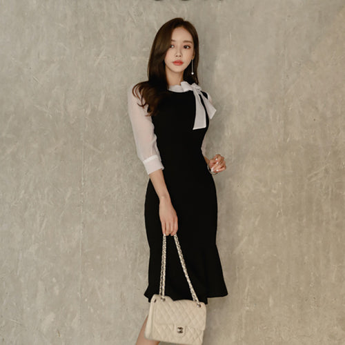 Korean stitching bow tie seven-point sleeve dress - Irene Cheung