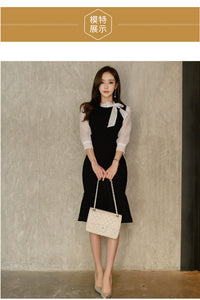 Korean stitching bow tie seven-point sleeve dress - Nova Dream Shop