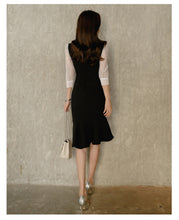 Load image into Gallery viewer, Korean stitching bow tie seven-point sleeve dress - Nova Dream Shop