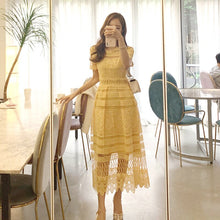 Load image into Gallery viewer, Korean temperament lace collar waist openwork lace big swing Dress - Nova Dream Shop