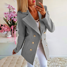 Load image into Gallery viewer, Double-breasted Lapel Jacket Casual Business Solid Jacket - Irene Cheung
