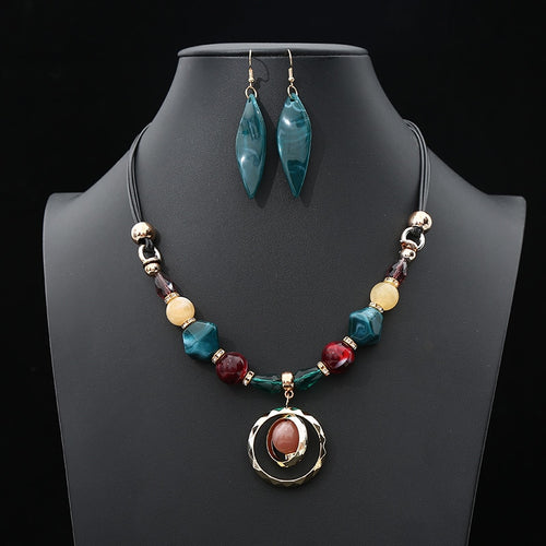 Wedding Jewelry Sets For Women Multicolor Long Round Tassel Pendant Necklace Drop Earrings - Irene Cheung