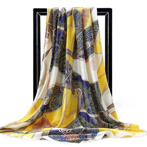 Twill Silk Large Scarf Belt Pattern Satin Square - Nova Dream Shop