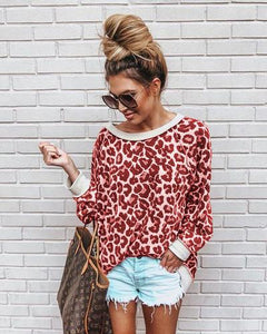 Sweatshirt Round Neck Print Leopard Jersey Tops - Nova Dream Shop