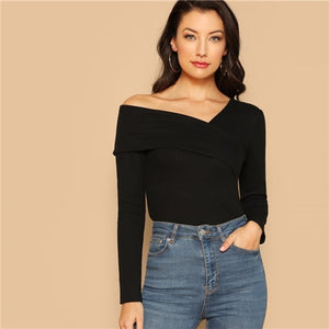 Asymmetrical Neck Solid Tee Rib-Knit Slim Top - Nova Dream Shop