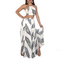 Load image into Gallery viewer, Halter Neck Floral Mini Tops and High Waist Split long Skirts - Nova Dream Shop