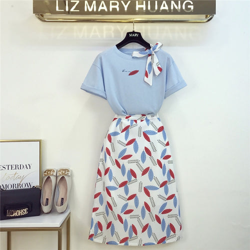 Bow Tie Ribbon T-shirt and Leaves Printing Chiffon Skirt Two Pieces for Women - Irene Cheung
