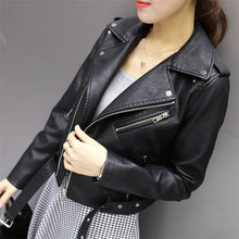 Load image into Gallery viewer, Casual Zipper Short Faux Leather Jacket - Irene Cheung
