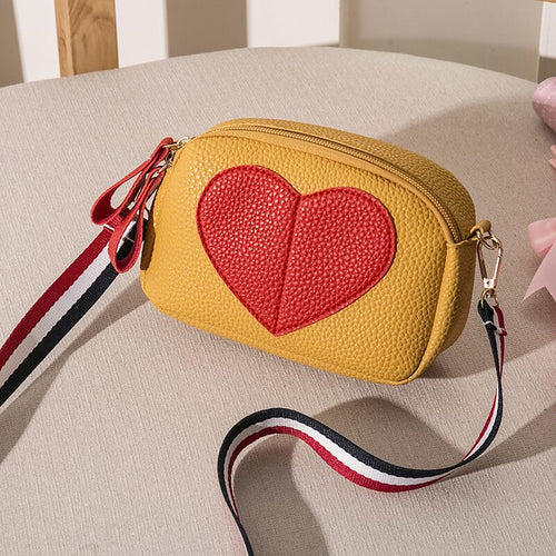 Red Heart Teenage Girl Soft Leather Small Handbag Crossbody Bag - Nova Dream Shop