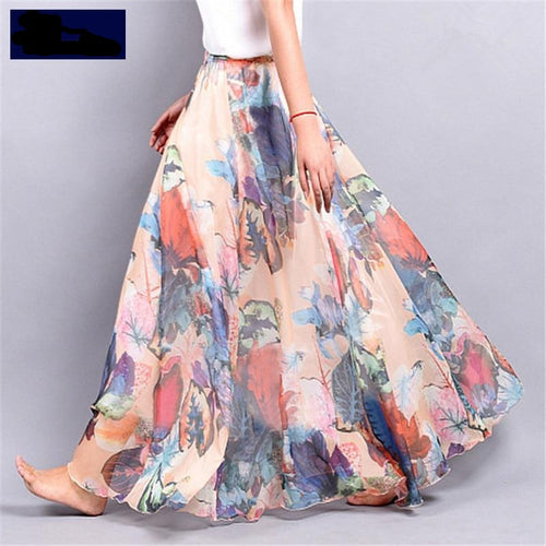 Summer Bohemia women's Chiffon lady's half long Floral Skirt Dress - Nova Dream Shop