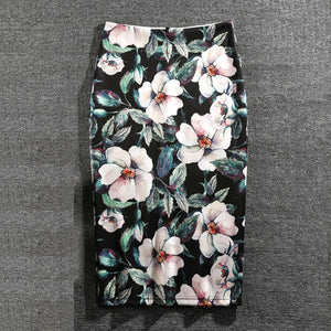 Women Print Flowers Pencil Skirt Casual Skirts Knee-Length - Nova Dream Shop