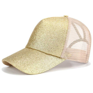 Glitter Ponytail Baseball Cap Women Snapback Mesh Hat - Nova Dream Shop