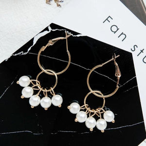 Elegant Pearl Heart Cross Tassel Gold Silver Glamour Earrings - Nova Dream Shop