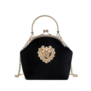 Royal Heart Purse shape Handbag Tote Bag with Metal Chain - Nova Dream Shop