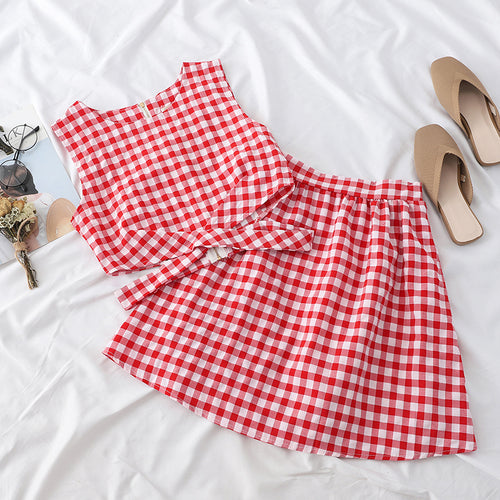 Summer Women Zipper Plaid Tank Top and Skirts Two Pieces Outfits Sets - Nova Dream Shop