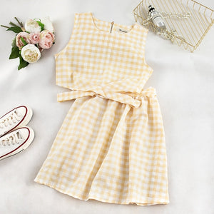 Summer Women Zipper Plaid Tank Top and Skirts Two Pieces Outfits Sets - Irene Cheung
