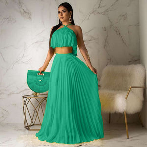 Chiffon Two Piece Long Dress Women Elegant Top and Skirt - Nova Dream Shop