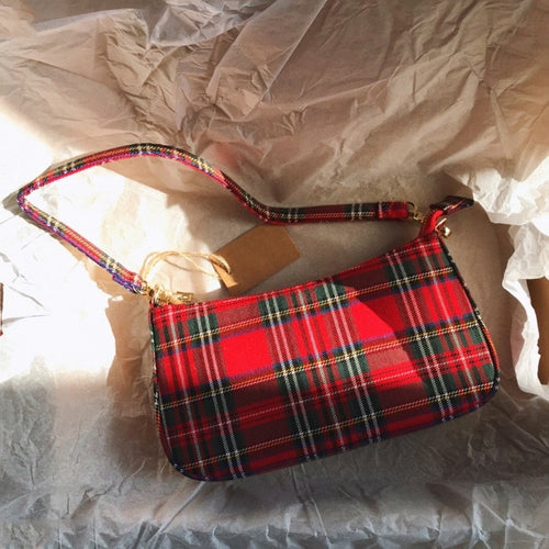 Vintage French Plaid Red  shoulder bags - Nova Dream Shop