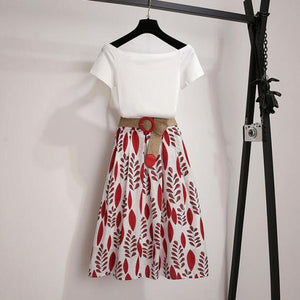 Summer T Shirt 2-piece Set Off shoulder Basic Tees+High Waist Leaf Print Skirt with Belt - Nova Dream Shop