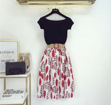 Load image into Gallery viewer, Summer T Shirt 2-piece Set Off shoulder Basic Tees+High Waist Leaf Print Skirt with Belt - Nova Dream Shop