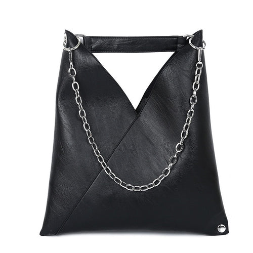 Black Leather Metal chain Tote Bag Shoulder Bags - Nova Dream Shop