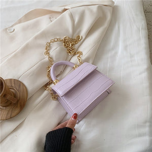 Luxury Pale Purple Stone Pattern Mini PU Leather Crossbody Bag with Metal Chain - Nova Dream Shop